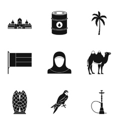 Uae country icons set simple style vector