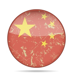 vintage button flag of China - grunge style vector image