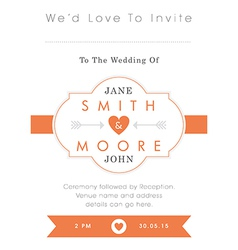 Wedding invitation orange style vector image vector image