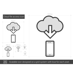 Cloud file access line icon vector