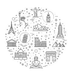 Travel landmarks line icon set vector image