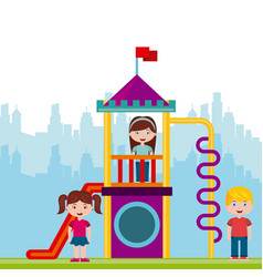 beautiful children playground with kids playing vector image