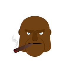 Angry man with cigar aggressive african face vector