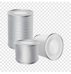 Blank tin cans mockup realistic style vector