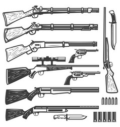Set of vintage style weapon isolated on white vector