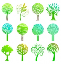set of trees emblem vector image