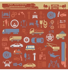 Set of auto repair service elements for creating vector