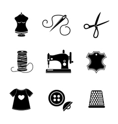Set of sewing icons - machine scissors thread vector