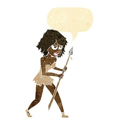 cartoon cave girl with speech bubble vector image