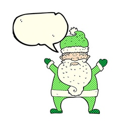 Cartoon ugly santa claus with speech bubble vector