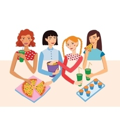 Dinner party movie night with four cute girls vector