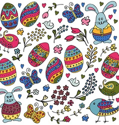 Hand sketched happy easter objects set with easter vector