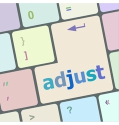Adjust button on the keyboard key close-up vector