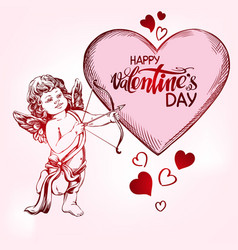 angel amyr little baby cupid shoots a bow with vector image