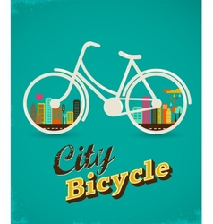 Bicycle in the city vintage style poster vector