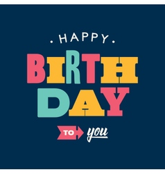 birthday card letterpress blue background vector image