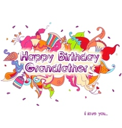 Birthday greeting card design with doodle flowers vector image