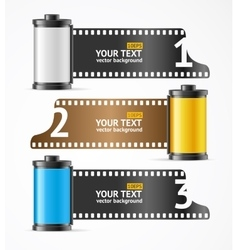 Camera film roll cartrige banner card vector