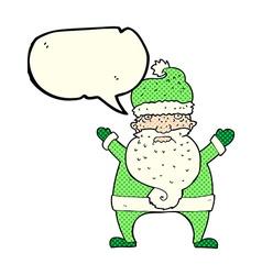 Cartoon ugly santa claus with speech bubble vector
