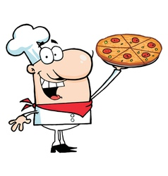 Chef presenting his pizza pie vector