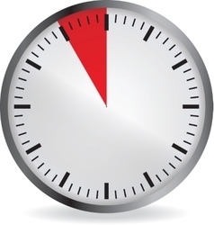 Clock with red 5 minute deadline vector image vector image