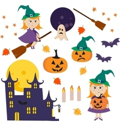 collection of Halloween icons vector image