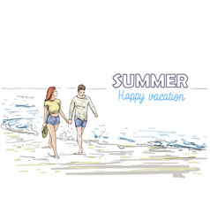 Couple hold hands walking beach man and woman vector