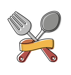 cutlery and ribbon design vector image