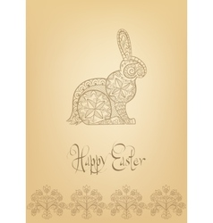 Easter folk ornament rabbit hand-drawn typography vector image