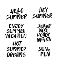 Hand drawn set of summer lettering vector