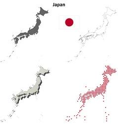 Japan outline map set vector