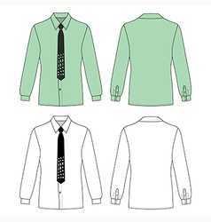 Long sleeve mans shirt tie outlined template vector