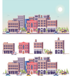low poly 2d buildings and city scene vector image
