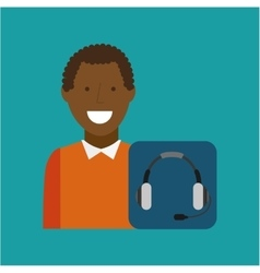 Man afroamerican using laptop heatset media icon vector