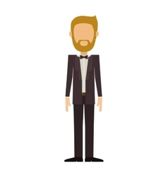 Man in suit with beard without face vector