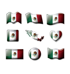 Mexico 3d flags collection colorful silhouettes in vector