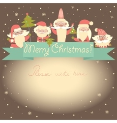 New year funny card with santa clauses and ribbon vector