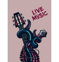 octopus musician live music rock poster with a vector image vector image