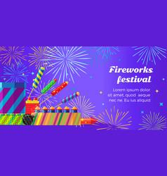 Organization of fireworks festival pyrotechnic vector