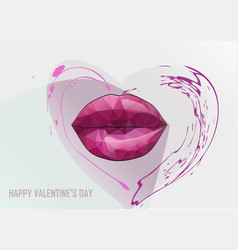 Red lips and heart vector