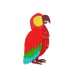 Red macaw parrot vector