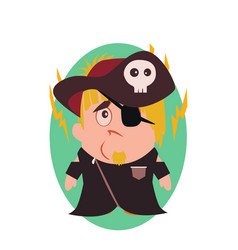sad and unhappy pirate - funny avatar of little vector image vector image