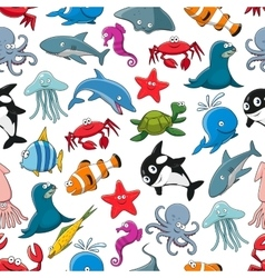Sea fish and ocean animals cartoon pattern vector image vector image