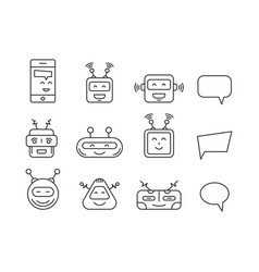 Set chat bot icon faces vector