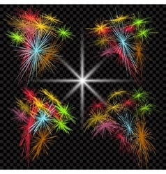 Set of colored fireworks exploding in the dark vector