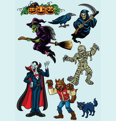 set of halloween character vector image vector image