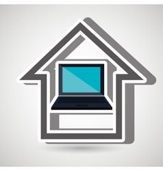 smart home with laptop isolated icon design vector image