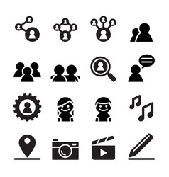 social network social media icon set vector image vector image
