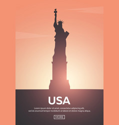 Travel poster to usa landmarks silhouettes vector