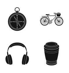 Travel training and or web icon in black style vector